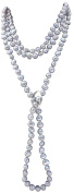 Silver Grey Shanghai Style Baroque Cultured Pearl 135cm Long Necklace With A Sterling Silver Shortener