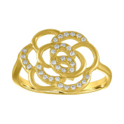 Sterling Silver 18k Gold Plated Cubic Zirconia Flower Ring Band