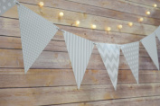Quasimoon Grey / Grey Mix Pattern Triangle Flag Pennant Banner Decoration (3.4m) by PaperLanternStore