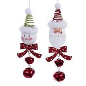 Kurt Adler 18cm Metal Snowman & Santa Head Bell Ornament 2/asstd