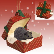 HEDGEHOG sits in a Red Gift Box Christmas Ornament New RGBA58 by Eyedeal Figurines