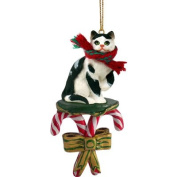 BLACK & WHITE CAT Tabby Short hair CANDY CANE Christmas Ornament NEW CCC02 by Eyedeal Figurines