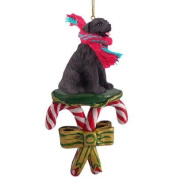 NEWFOUNDLAND Dog Black Resin Newfie CANDY CANE Christmas Ornament NEW DCC30 by Eyedeal Figurines