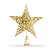 Star Tree Topper, Exquisite Shimmery 20cm x 15cm Star Christmas Tree Topper Christmas Tree Decoration 5 Point Star Treetop Decor