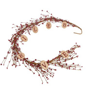 """140cm Long Red Pip Berry and Burlap """"Believe"""" Tag Garland for Home Decor, Displaying and Embellishing"""