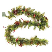 2.7m LED Pre-Lit Battery Operated Christmas Garland w/ Pinecones and Berries - 45 Mini Warm White LED Lights