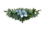 60cm Pre-Decorated Peacock Blue and Silver Balls and Poinsettias Artificial Christmas Swag - Unlit