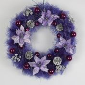 ZZYDECOR-Fashion Creative Christmas Home Decor Christmas Wreath Garland for Outdoor and Indoor Decoration,40cm,purple