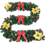 ZZYDECOR-Fashion Creative Christmas Home Decor Christmas Wreath Garland for Outdoor and Indoor Decoration,2.7m,multi-colour