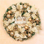 ZZYDECOR-Fashion Creative Christmas Home Decor Christmas Wreath Garland for Outdoor and Indoor Decoration, 50cm,gold