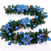 ZZYDECOR-Fashion Creative Christmas Home Decor Christmas Wreath Garland for Outdoor and Indoor Decoration,2.7M,blue