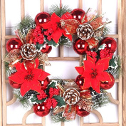 ZZYDECOR-Fashion Creative Christmas Home Decor Christmas Wreath Garland for Outdoor and Indoor Decoration,40CM,gold