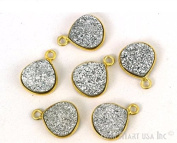 Silver druzy connector, 10mm Heart shape gold plated single point bail connector pendant 1pc