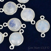 Rainbow moonstone bezel connector, 10mm Round shape Silver plated double bail link connector 1pc