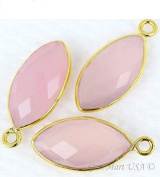 Rose Chalcedony bezel connector, 8x16mm Marquise shape Gold plated single bail connector pendant 1pc