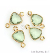 Natural Green Amethyst bezel connector, 8mm Trillion shape Gold plated double bail link connector 1pc