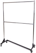 Only Hangers Commercial Grade Double Bar Rolling Z Rack with Nesting Black Base