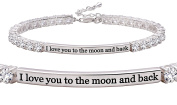 "ALOV Jewellery Sterling Silver ""I love you to the moon and back"" 4mm Cubic Zirconia Tennis Bracelet"