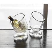 Modern Glass Slanted Wine Chiller Cooler | Ice Bucket Contemporary