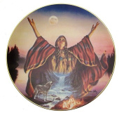 Moonlit Solace Cloak Of Visions Andrew Farley Native American Woman Plate CP2561