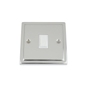 Light Switch 1 Gang - Polished Chrome Trimline - White Insert Plastic Switch - 10 Amp Single 1 Gang 2 Way
