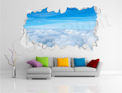 Sky Clouds Realistic Cracked Wall 3D Huge Wall Art Sticker Decal Print