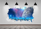 Space Fantasy Galaxy Stars Brick Crack Wall 3D Wall Art Sticker Decal Transfer
