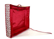 Paula Deen Christmas Toile Heavy-Duty Fabric Wreath Storage Box with Clear Top and Zip Closure