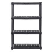 Muscle Rack PS362456-4B Plastic Shelving, 90cm width x 140cm Height x 60cm Depth, black , 140cm Height, 90cm width