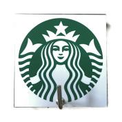 Agility Bathroom Wall Hanger Hat Bag Key Adhesive Wood Hook Vintage Starbucks Coffee Logo's Photo