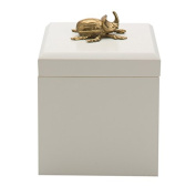 Boutique Rhinocerous Beetle Trinket Box | Gold White Insect Animal Gift