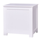 Tangkula Wood Laundry Rectangular Country Hamper Storage Basket White