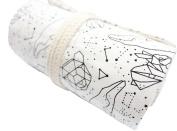 Hflove Unisex Pencil Bag Canvas 48 Holes Canvas Roll Pen Bag Constellation Pattern Drawing Pencils Case