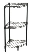 Internet's Best 3-Tier Corner Wire Shelving | Black | Heavy Duty Shelf | Adjustable Rack Unit