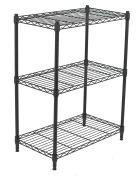 Internet's Best 3-Tier Wire Shelving | Flat Black | Heavy Duty Shelf | Wide Adjustable Rack Unit | Kitchen Storage