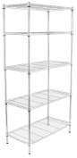 Internet's Best 5-Tier Wire Shelving | Chrome | Heavy Duty Shelf | Wide Adjustable Rack Unit | Kitchen Storage