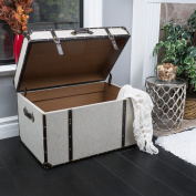 Modern Wood Beige Fabric Upholstered Storage Trunk with Brown Bonded Leather Trim and Nailheads - Includes Modhaus Living Pen