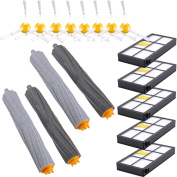 KEEPOW Replacement Roomba Parts for iRobot Roomba 980 960 900 880 870 860 800 Robotic Vacuum Cleaner (5pcs Hepa Filters, 8pcs Side Brushes, 2 sets Tangle-Free Debris Extractor)
