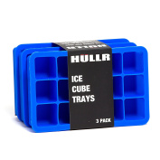 HULLR Ice Cube Silicone Trays, 3 Pack BPA Free, 2.5cm Cubes