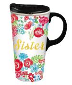 Cypress Home Sister Ceramic Travel Coffee Mug, 500mls