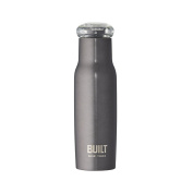 Built NY double Wall Stainless Steel Water Bottle with Tritan Flip Top Lid, 530ml, Charcoal