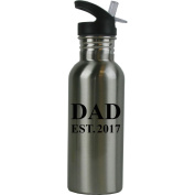 Dad EST. 2017 Stainless Steel Silver 590ml Water Bottle with Plastic Straw