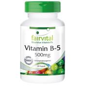 fairvital - Vitamin B5 500mg - Pantothenic Acid - In Pure Form - 60 Capsules
