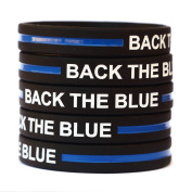 10 BACK THE BLUE Thin Blue Line Silicone Wristbands