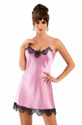 Gorgeous Dusky Pink Luxury Satin Eyelash Lace Trimmed Chemise Nightdress