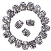 eBoot Hair Beads Dreadlocks Beads Ancients Dread Locks Tube Hair Decoration Braiding Hair Jewellery, Silver Colour, 20 Pieces