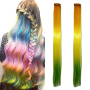 Miya® 1 Piece Clip In Hair Extensions Hair Wigs Synthetic Hair with Attractive Gradient Colour - Makes A Lovely Feature for Parties, Fancy Dress, Carnival,, Yellow/Green