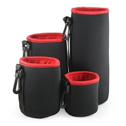 Belmalia 4 Lens Bag Set Neoprene Lens Pouch Size S + M + L + XL, Great Protection for Your Lenses, Water-Water-repellent Black/Red