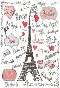 Cartoon Painting Paris Eiffel Tower Graffiti Photography Backdrop Love 1.5m X 2.1m No Crease Party Photography Background For Kids Baby