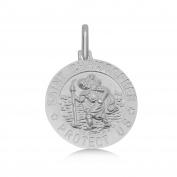 .925 Purity Sterling Silver St. Christopher Medallion Pendant - Catholic, Anglican, Orthodox, Methodist Missionary Italian Jewellery for Men & Women - 1.9cm